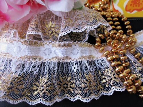 Lovely GOLD with white ruffled lace trim 2 1//2 inch wide price for 1 yard
