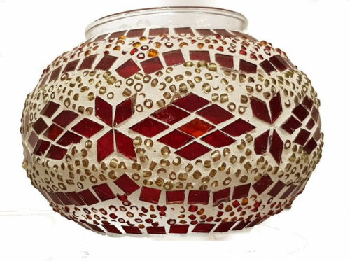 Turkish Table Lamp Hand Made Moroccan Mosaic Colourful Glass Silver Base
