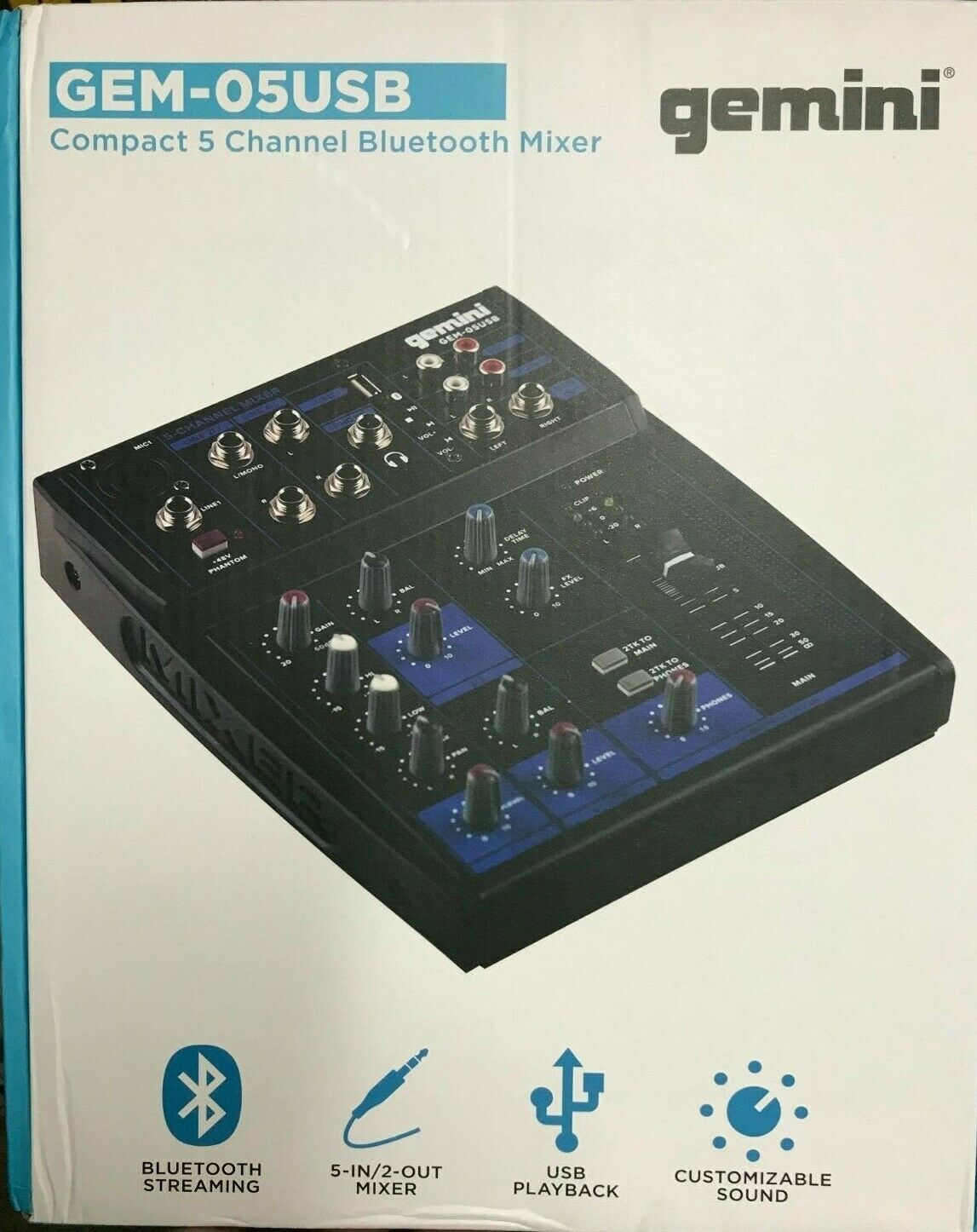Gemini - GEM-05USB - 5 Channel USB Blautooth Mixer for Podcast Recording