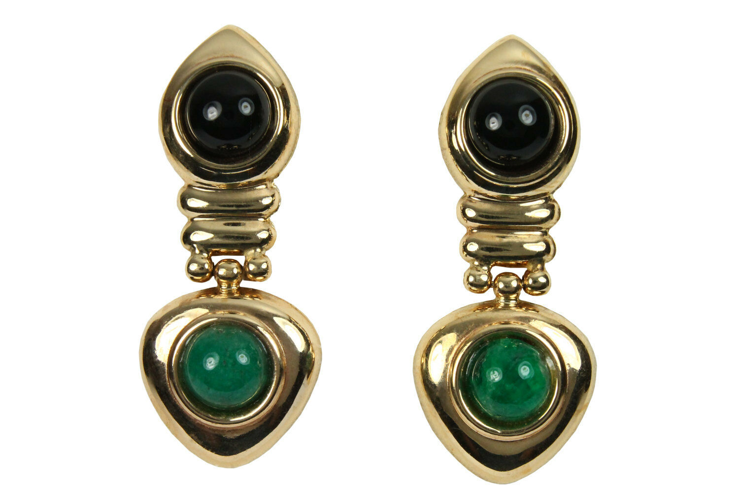 Onyx & Emerald Dangle Earrings 4.50TCW, Yellow gold Emerald Onyx Stud Earrings