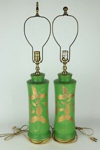 Vintage-Pair-Green-Glazed-Ceramic-Table-Lamps-Gold-Painted-Leaves-Tested-Works