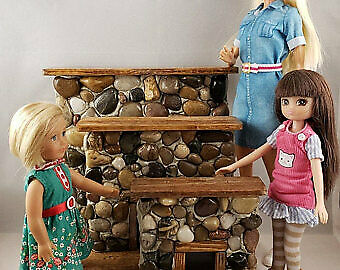 Miniature Stone Dollhouse Fireplace with Natural Wood Mantle Barbie Size 1:6