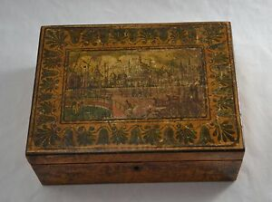 ANTIQUE REGENCY EARLY TUNBRIDGE WARE WHITEWOOD SEWING BOX - BRIGHTON PAVILION