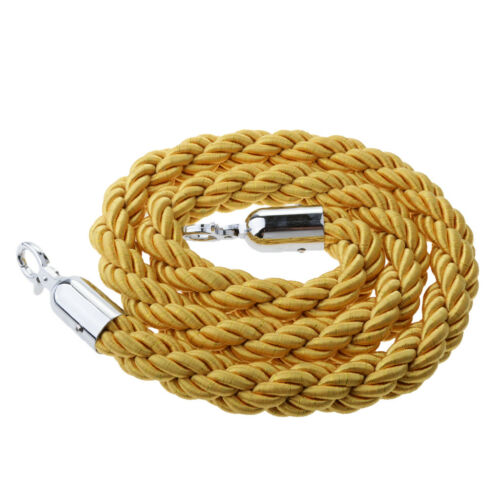 Yellow 1.5m Twisted Rope Crowd Control Belt Stanchion Post Queue Barrier