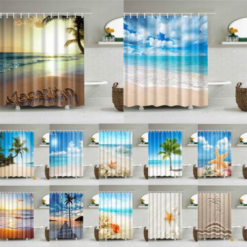 Sommer Strand Muschel Seestern Nautisch Vorhang Mildew-Proof Badezimmer Dekor
