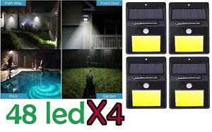 4x-Lampada-luce-faretto-faro-esterno-energia-solare-48-LED-sensore-movimento