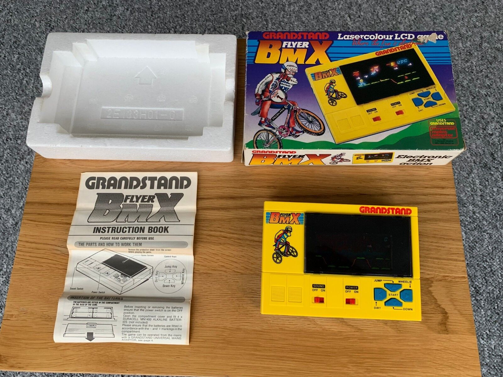 Rare Superb Boxed Grandstand BMX Flyer Lasercolour Vintage 1983 Electronic Game.