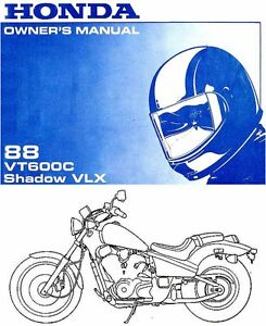1988 honda vt600c shadow vlx motorcycle owners manual shadow vlx vt rh ebay com honda shadow vt 600 repair manual Honda Shadow 600 VLX Deluxe