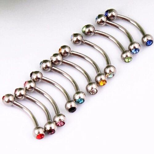 Pair Surgical Steel Gem Ball Barbell Curved Eyebrow Ring Bar Tragus Ear Piercing