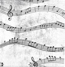 Lot de 3 Serviettes en papier Cocktail Notes de Musique Decoupage Decopatch