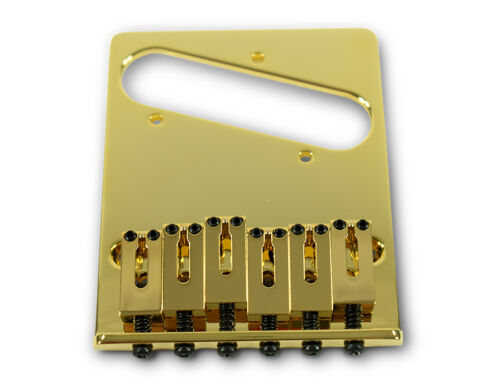 Gold Steel Saddles Kluson 4 hole 6 Saddle Telecaster Drop in Upgrade Bridge