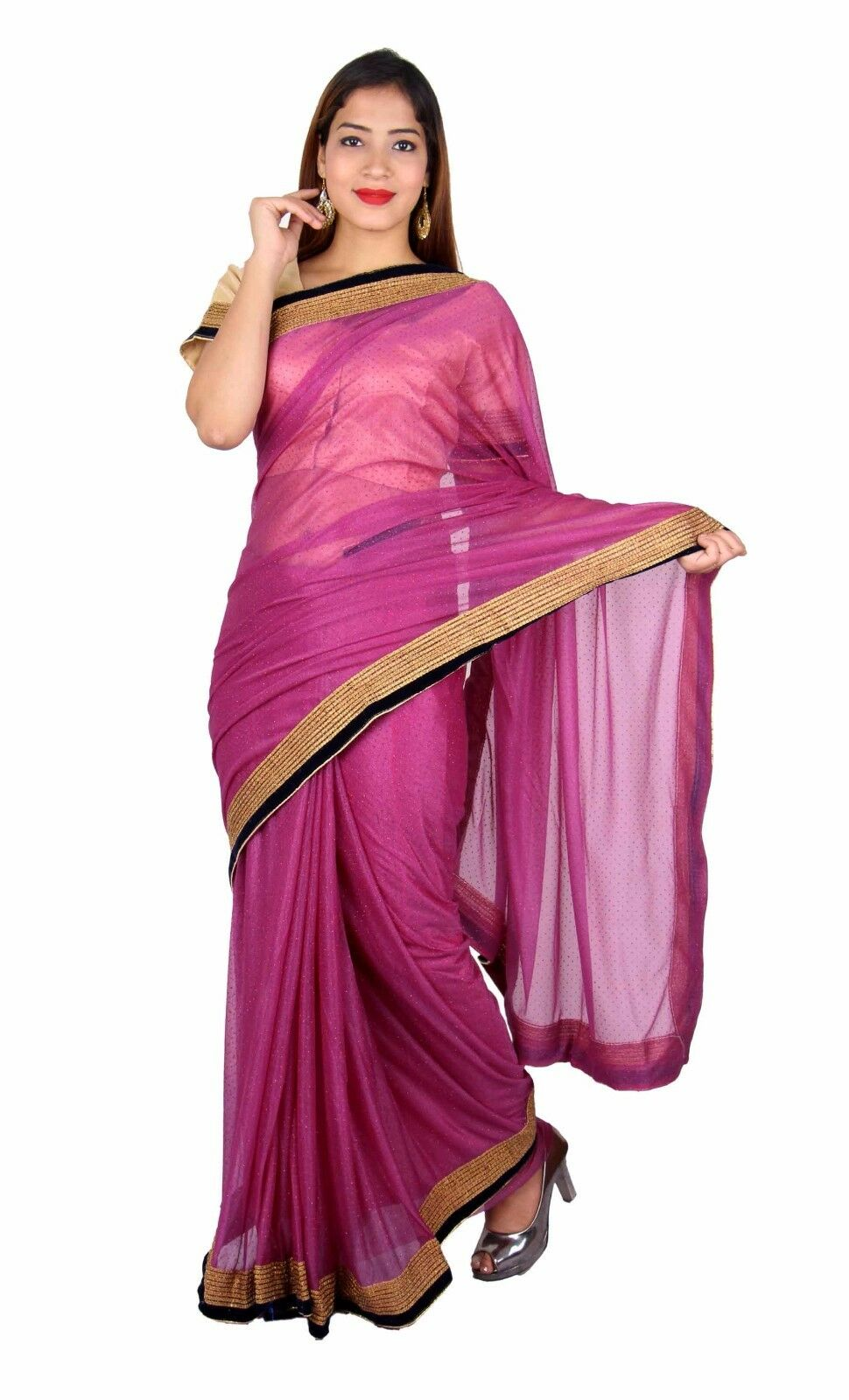Indian border shimmer saree with blouse for Bollywood theme party London 7266