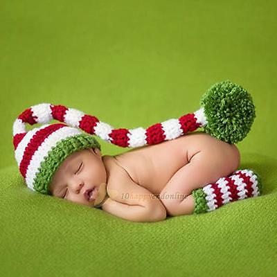 Christmas Gift Newborn Baby Hat Legging Crochet Knit Photo Photography Props