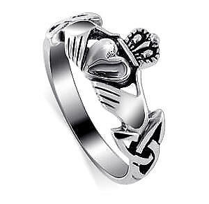 Sterling Silver Woman/'s Celtic Claddagh Irish Ring Unique Band 8mm Sizes 3-13