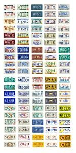 1//25 scale model car assorted USA 1950s license plates state tags 1:25