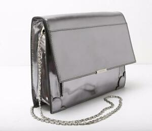 Verni strap Structuré Cuir Sac Jason Mirrored Pochette Chain Wu silver Main À ag46FIq