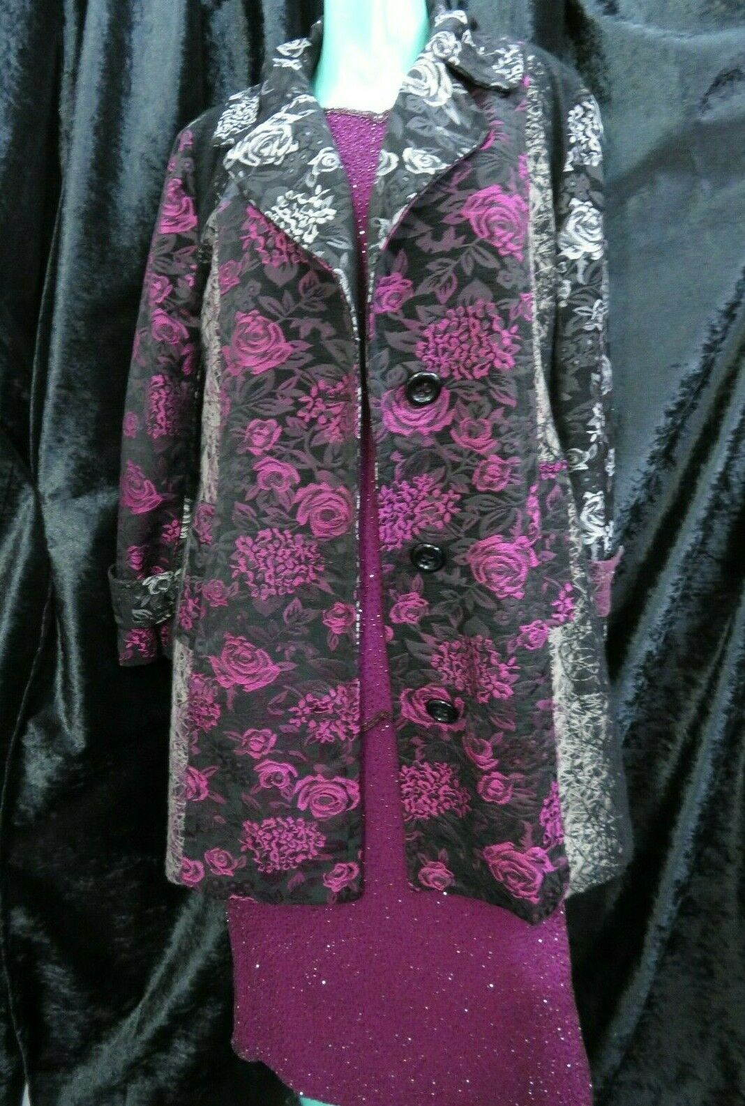 Yours Limited Collection black pink floral occasional coat UK 20