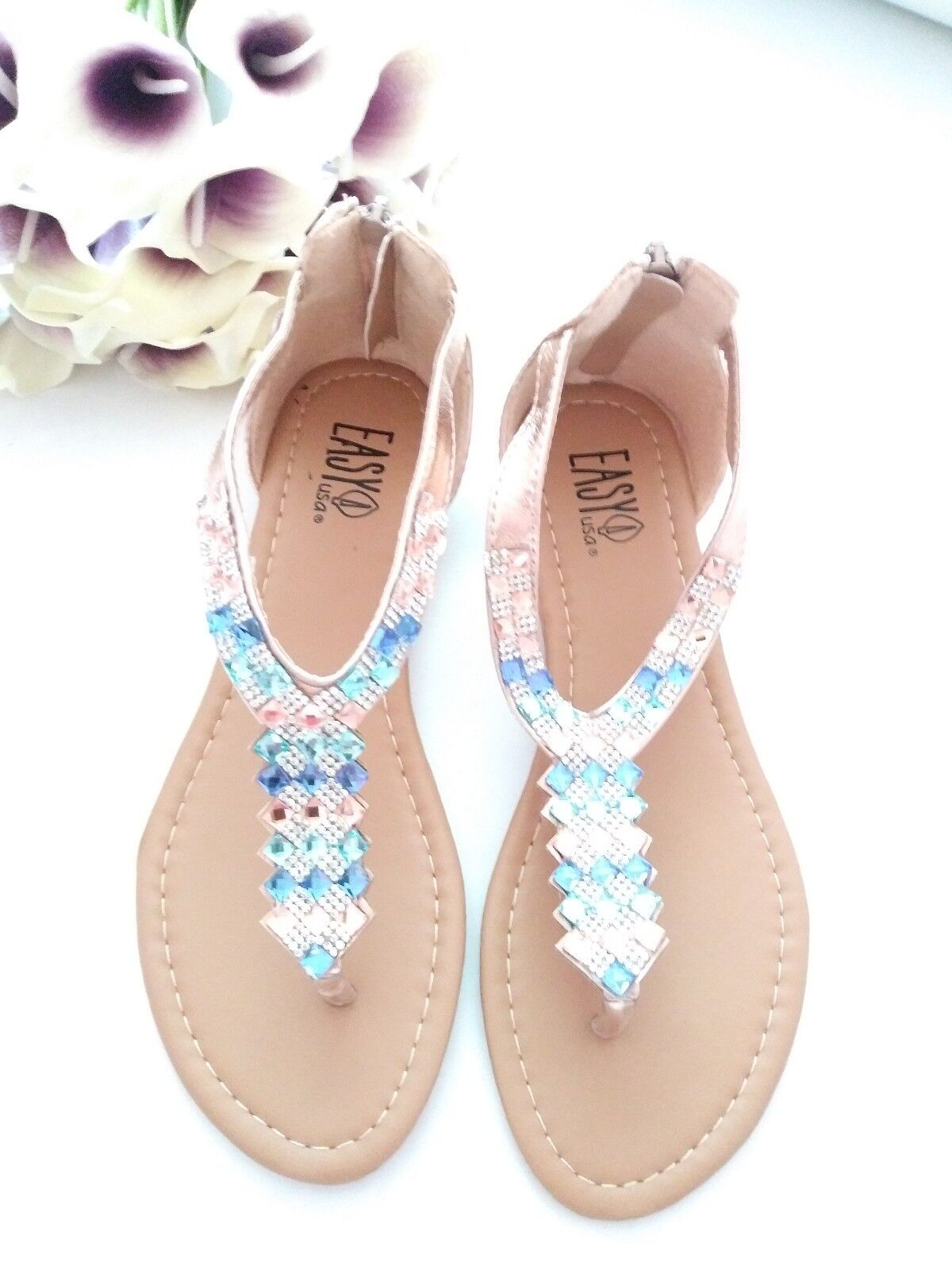 Womens with Sandals *Size 11* Rose Gold with Womens aqua marine stones **CUTE** b4ba04