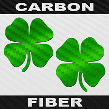Carbon Fiber 4 Leaf Clover Sticker 2 Pack Four Leaf Decals