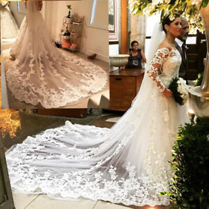 Cathedral-Length-Wedding-Veils-1T-White-Ivory-Bridal-Lace-Applique-Veils-Comb