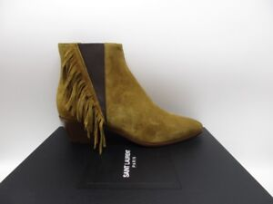 Yves Saint Laurent Rock 40 Chelsea Fringe Ankle Boots Booties  1195 ... dcd370294