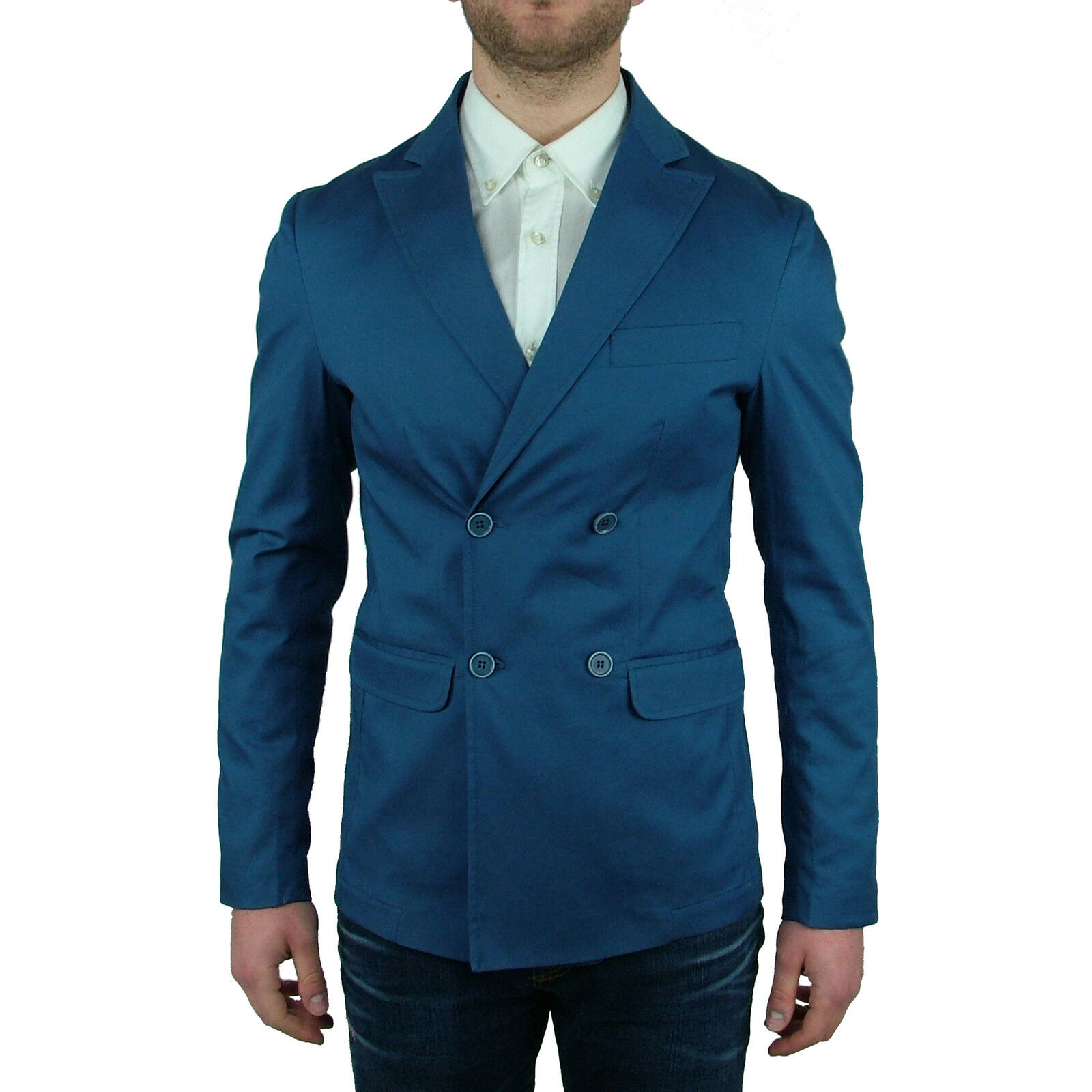 Giacca Blazer Sportiva Primaverile Slim Fit Doppiopetto men Maskio blue Elegante