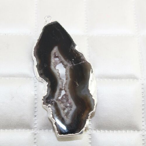 Black Natural Geode Slice Druzy Silver Plated Connector Make DIY Pendant Jewelry