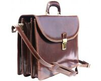 Italian Handmade Leather Briefcase Handcrafted In Florence Italy 7617