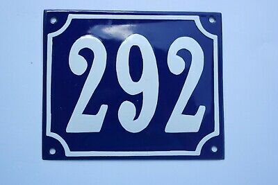 100% Wahr Gr. Emaille Hausnummer Nr. 292 Gewölbt Emailleschild 18x15cm Selten Blau/weiß üBerlegene (In) QualitäT