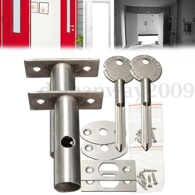 2 Pack Silver Door Security Bolts Rack With Fitting Plates & Star Keys & Screws