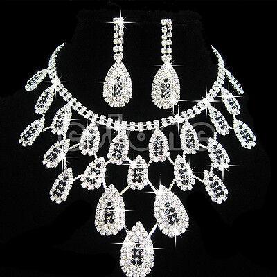 Luxury Wedding Bride Crystal Rhinestone Pendant Necklace Earrings Jewelry Sets