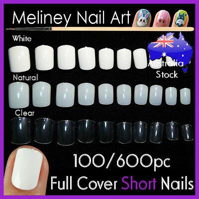 100/600Pc Short Nails Full Cover Gel Art Nail Manicure False supply