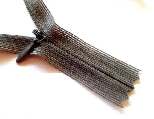 Cremallera negra Weiss gris costura oculta nylon cadena tamaño 3 ykk wirkware