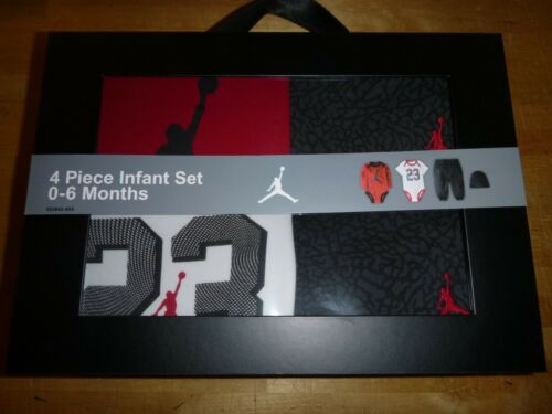0-6 Months White//Grey//Red NIB Jordan 1-4 Pieces Boy/'s Set Sz