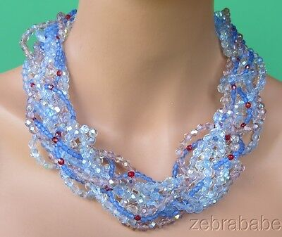 Vintage Coppola e Toppo Multi Color Crystal Bead Necklace Italy