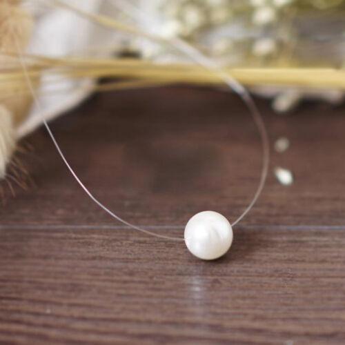 Élégant Invisible Ligne De Pêche Perle Clavicule Pendentif Chaîne Collier Tour de cou
