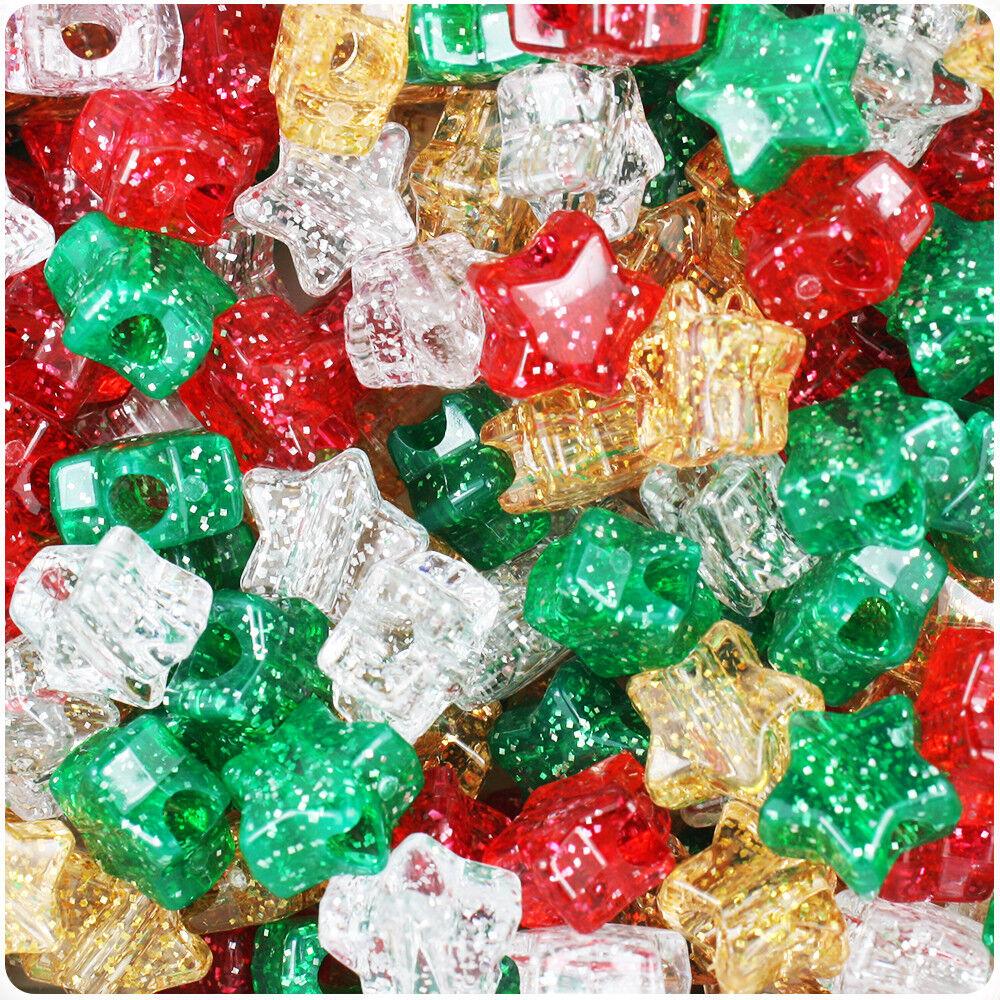 50 Christmas Sparkle Stars Pony Beads Red Gold Green Glitter Hair