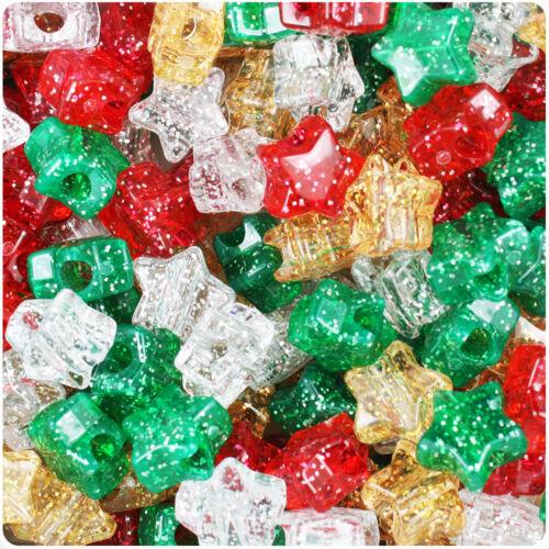 50 estrellas de granos de poni de Navidad Sparkle Brillo Oro Verde Rojo el pelo