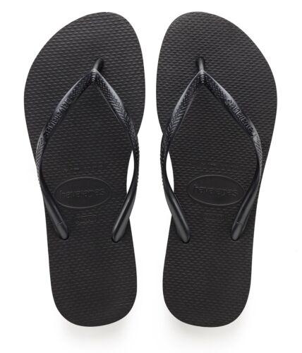 Genuine Havaianas Womens Slim Flip Flops Black