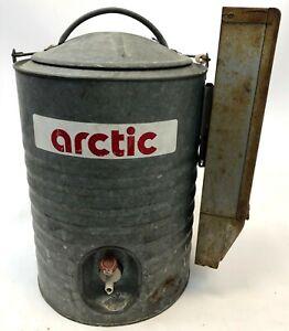 Vintage-ARCTIC-Galvanized-Steel-Metal-3-Gallon-Camp-Outdoor-Water-Cooler-Tank