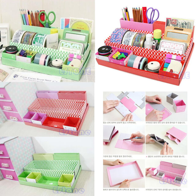 Paper Board Storage Box Stationery Makeup Cosmetic DIY Organizer Desk Decor New