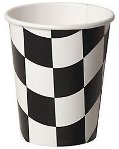 Black-amp-White-Chequer-Check-Flag-Grand-Prix-Car-Racing-Party-Cups-8pk