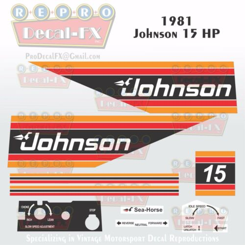 1981 Johnson 15 HP Outboard Reproduction 11 Piece Marine Vinyl Decal Sea-Horse