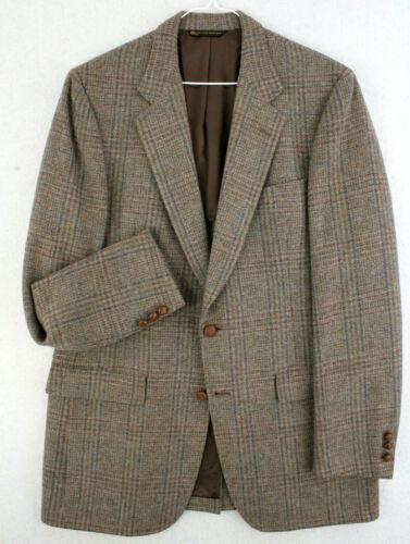Vtg 80s HART SCHAFFNER & MARX Plaid Tweed Wool Bro