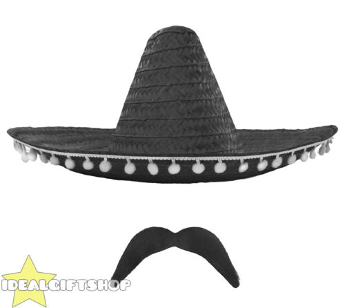BLACK Messicano Sombrero di Paglia Cappello Pompoms aggiungere Accessorio Baffi SIGARO Stag Hen