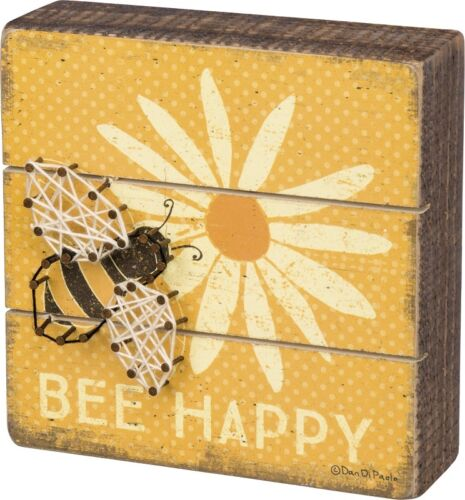 "NEW!~Primitive Wood String Art Sign~/""BEE HAPPY/""~Bumble Bee//Hive//Dandelion Flower"