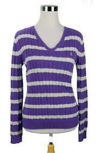 EUC-LAUREN-RALPH-LAUREN-Cotton-Pull-Over-Sweater-Purple-Stripe-Size-Small-LOGO