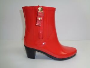 Kate-Spade-New-York-Size-8-M-PENNY-Red-Rubber-Ankle-Rain-Boots-New-Womens-Shoes