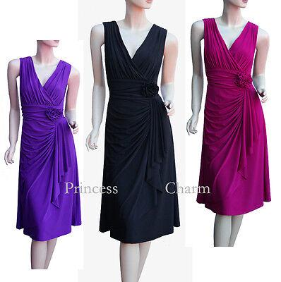 Black Purple Violet Cocktail Evening Drape Dress Plus Size 26 24 22 20 18 16 14   eBay