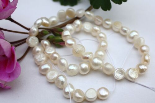 Br034 de culture Strang Vraies Perles Bijoux Chaîne Collier 8-9 mm Baroque